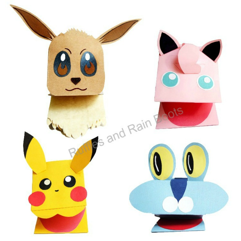 pokemon paper puppets - Pokemon crafts for kids