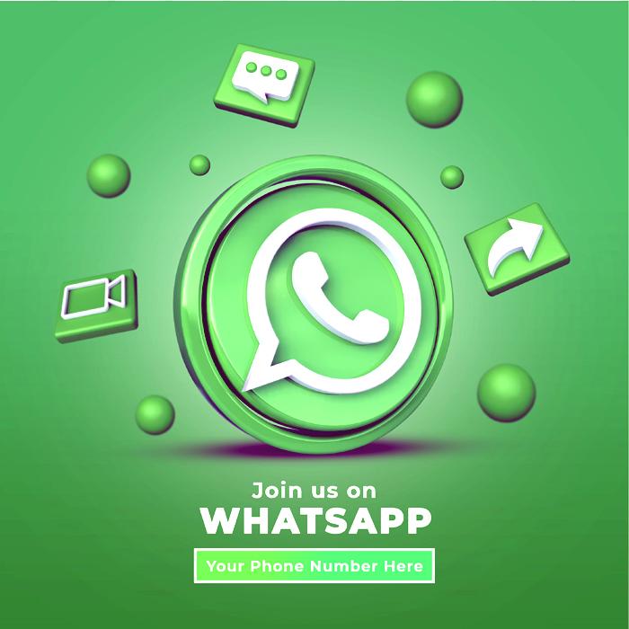 3D Logo Follow Us Whatsapp Social Media Square Banner