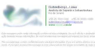 Exemplo de uma assinatura de e-mail no Outlook.