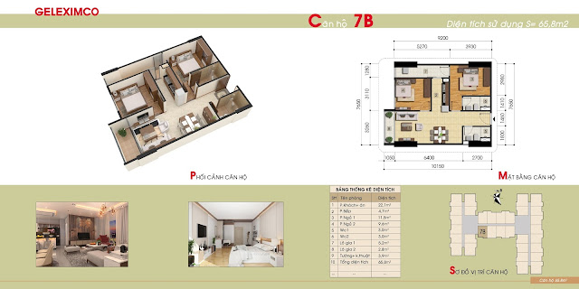 Mẫu căn hộ 7B chung cư Gemek Premium