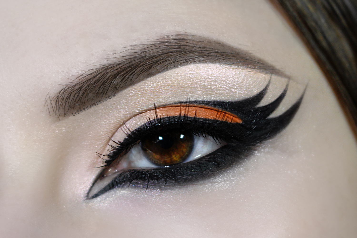 a close-up picture of an eye with a dramatic, Gothic eyeliner makeup.