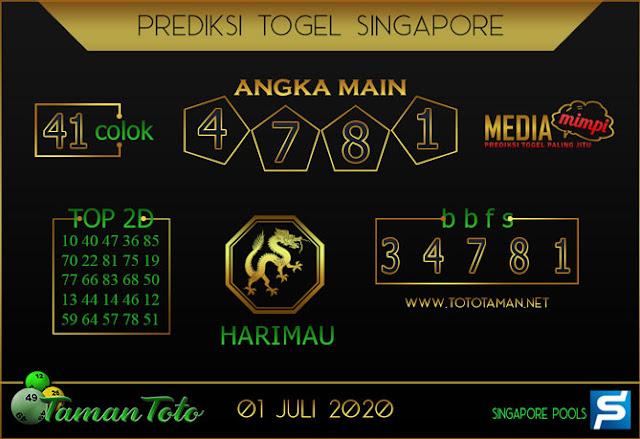 Prediksi Togel SINGAPORE TAMAN TOTO 01 JULI 2020