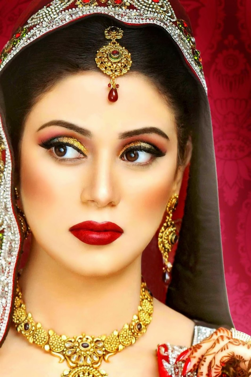 New Makeup Brushes: Indian Dulhan New Look Makeup Ideas 2014 For Girls Image