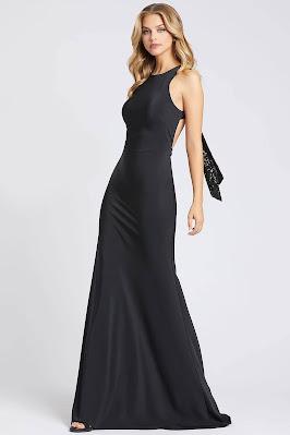 Open Back Evening Dress Ieena for Mac duggal Black Dress