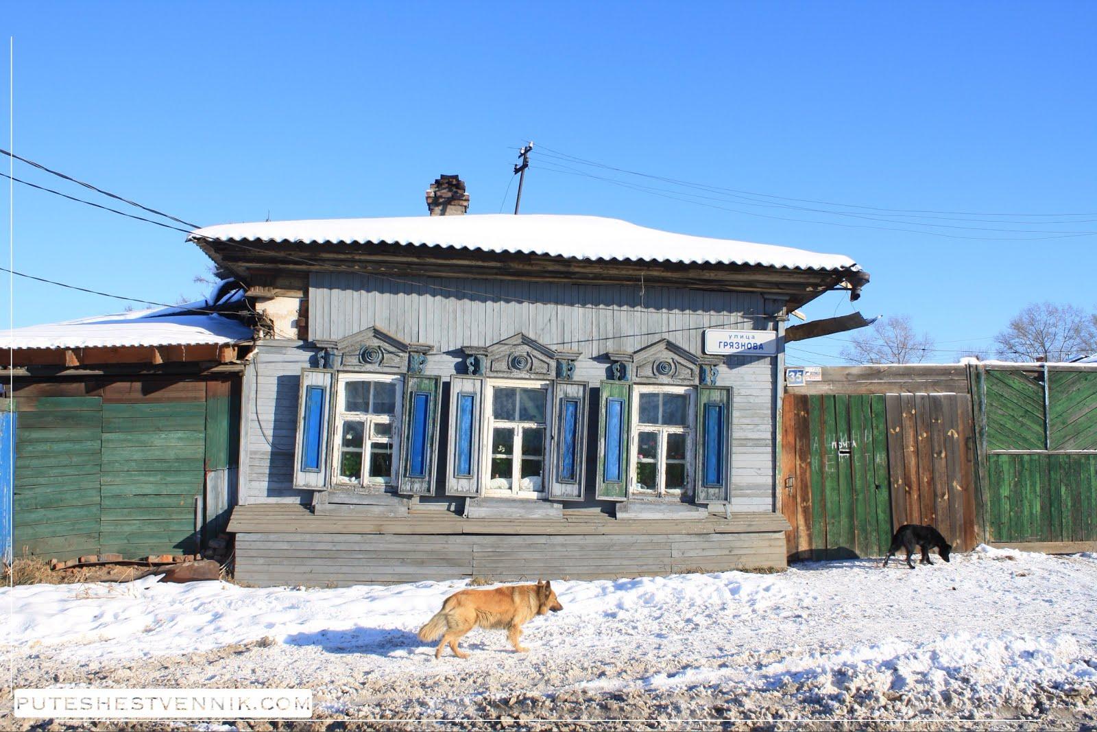 Старый дом и собаки в Иркутске