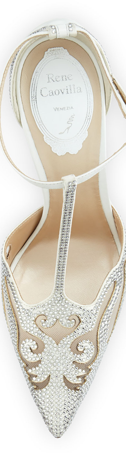 Rene Caovilla Crystal-Embellished T-Strap Evening Pump, White