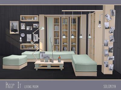 Keep It Living Room Оставь это в гостиной для The Sims 4 Часть вторая из набора Keep It Simple, гостиная. 3 цветовых вариации, 19 предметов. Объекты в наборе: - диван - Loveseat - пуф - журнальный столик - место хранения - книжный шкаф - функциональная полка с книгами - настенный деко - два растения - два вида книг - настенный светильник - напольный свет - настенные рисунки - две деко колонки - арка деко - настольные картинки. Автор: soloriya