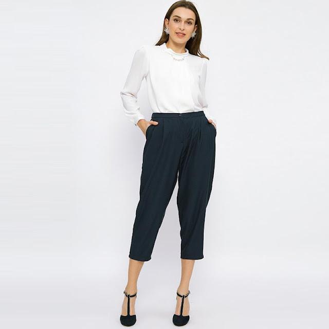 Minimal Relax Crop Trouser Celana Wanita