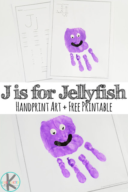 FREE Letter J Worksheets to help kids practice writing alphabet letters. Plus a fun letter j craft for toddler, preschool, kindergarten. Super cute hand art project for j is for jellyfish.
