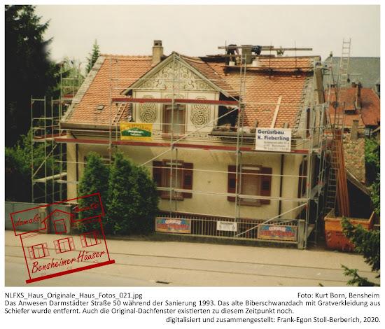 Bensheimer Häuser - damals und heute - Dachsanierung 1993, Entfernung der Biberschwanzeindeckung und der Gratverkleidung aus Schiefer, 1993