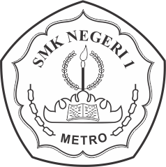 Logo SMKN 1 Metro hitam putih