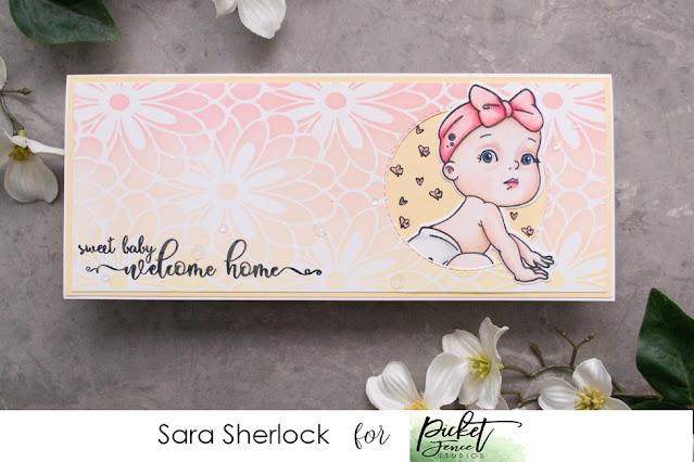 Slimline Daisy Burst Stencil, Baby Girl of All Seasons, Picket Fence Studios, Distress Oxide Ink Blending, Prismacolor Pencils, colored pencil coloring, baby girl card, handmade card, slimline card