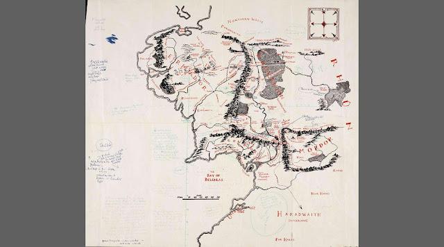 Carte de La Terre du Milieu annotée par Tolkien