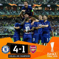 Eden Hazard's brace helped Maurizio Sarri claim his first major trophy as Chelsea crushed Arsenal 4-1 in the Europa League final in Baku on Wednesday.