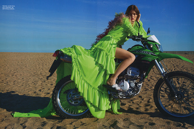 Myrthe Bolt aboard a Kawasaki KLX 250 for Glamour Spain, March 2019, shot by Amar Daved
