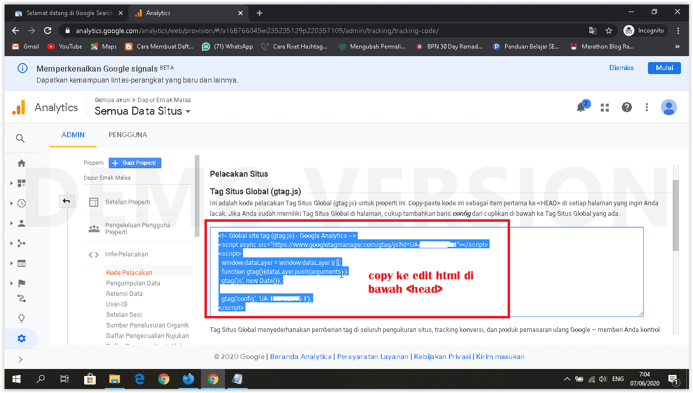 cara memasang google analytics kode pelacakan di html