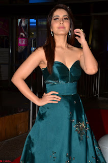 Raashi Khanna in Dark Green Sleeveless Strapless Deep neck Gown at 64th Jio Filmfare Awards South   17th Jun 2017 ~  Exclusive