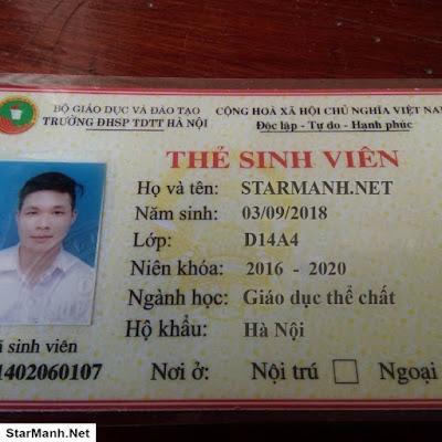 Chia Sẽ File PSD Thẻ Sinh Viên Nam