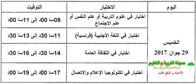 جدول سير اختبارات مسابقة مستشار التوجيه 2017