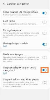 Screenshot Samsung A71 dengan mengusap layar