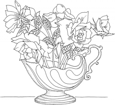Printable Rose Coloring Pages For Kids | 350x384