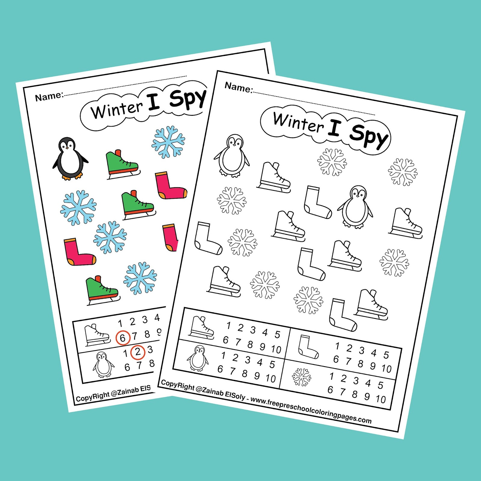 """Winter """"I Spy"""" coloring pages game - easy level"""