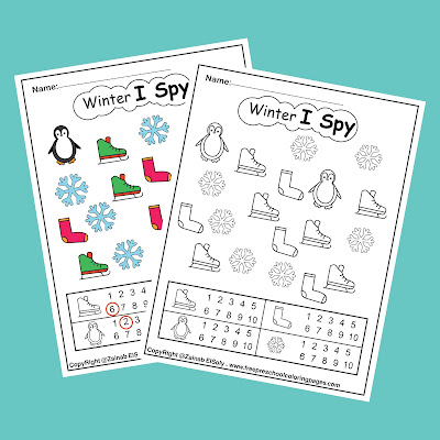 winter i spy coloring pages free printable for kids free preschool coloring pages for Christmas holidays color and count numbers from 1 to 10