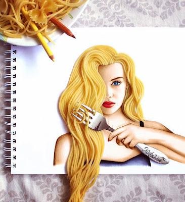 Ilustración de mujer rubia