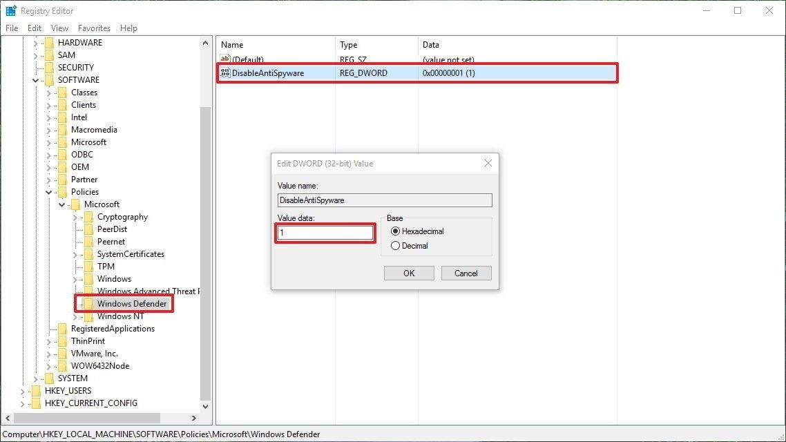 Sử dụng Registry để vô hiệu hóa Windows Defender