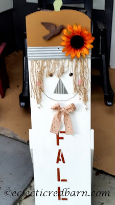 Wooden scare crow. Share NOW. #falldecor #scarecrow #fall #recycling #eclecticredbarn