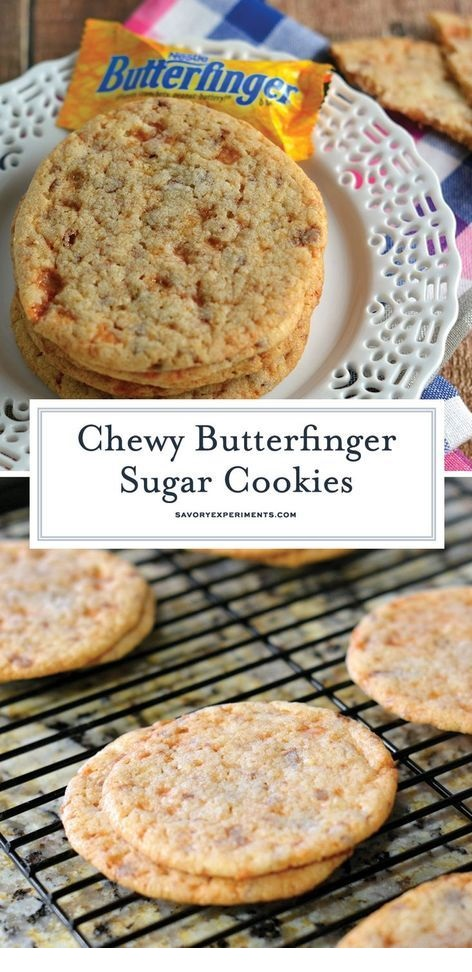 Chewy Butterfinger Sugar Cookies