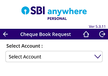5. Next screen you can view all your transaction accounts. Here select your SBI account for which you require a cheque book.