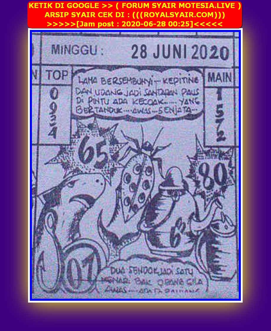 Kode syair Singapore Minggu 28 Juni 2020 50