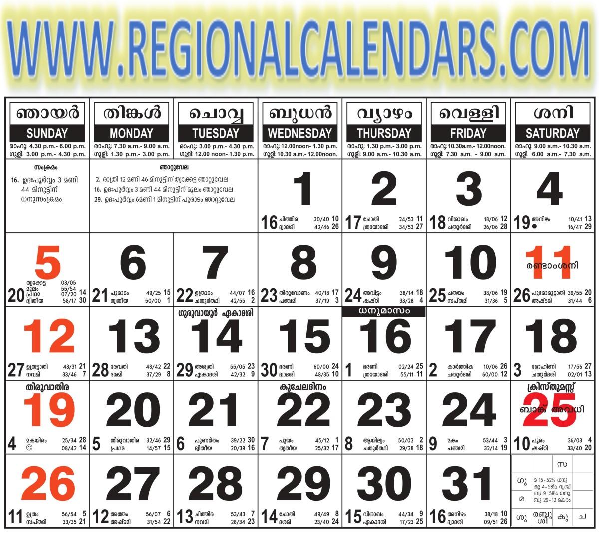 Malayalam Calendar 2021 December