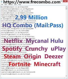 2,99 Million - HQ Combo (Mail:Pass)