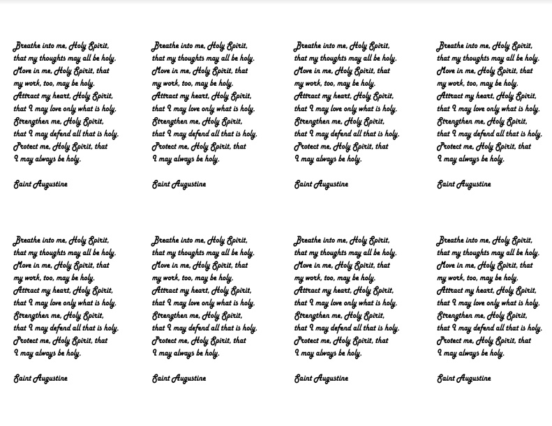 image relating to Come Holy Spirit Prayer Printable titled Christian Review Instruments: Prayer Playing cards Prayers