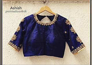 Affordable beautiful saree blouse 3/4 sleeve designs, Silk saree with blouse designsAffordable beautiful saree blouse 3/4 sleeve designs, Silk saree with blouse designs. Label Ashish Kumar .