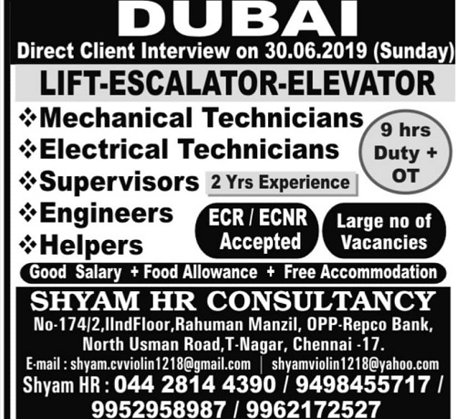 DUBAI JOBS : URGENTLY REQUIRED FOR LEADING COMPANY IN DUBAI