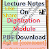 Lecture Notes on Digitization Module PDF Download
