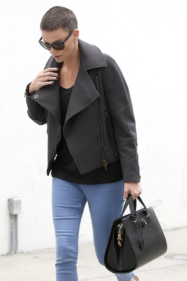 f933745e67c Charlize Theron out and about in Beverly Hills showing off a chic buzz cut