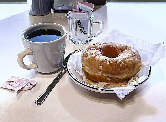 Ralph Goings realism art, coffee and a donut