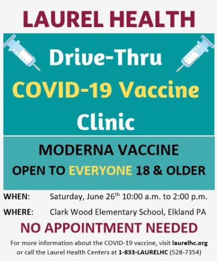6-26 Drive Thru Covid-19 Vaccine At Clark Wood Elementary