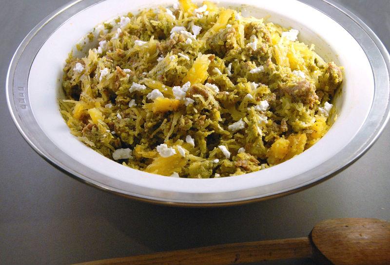 pistachio pesto spaghetti squash chicken sausage goat cheese