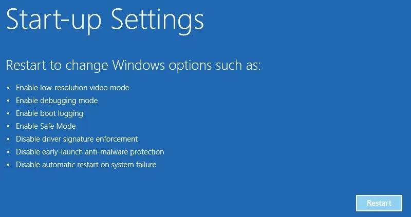 win10-install-unsigned-driver-click- إعادة التشغيل