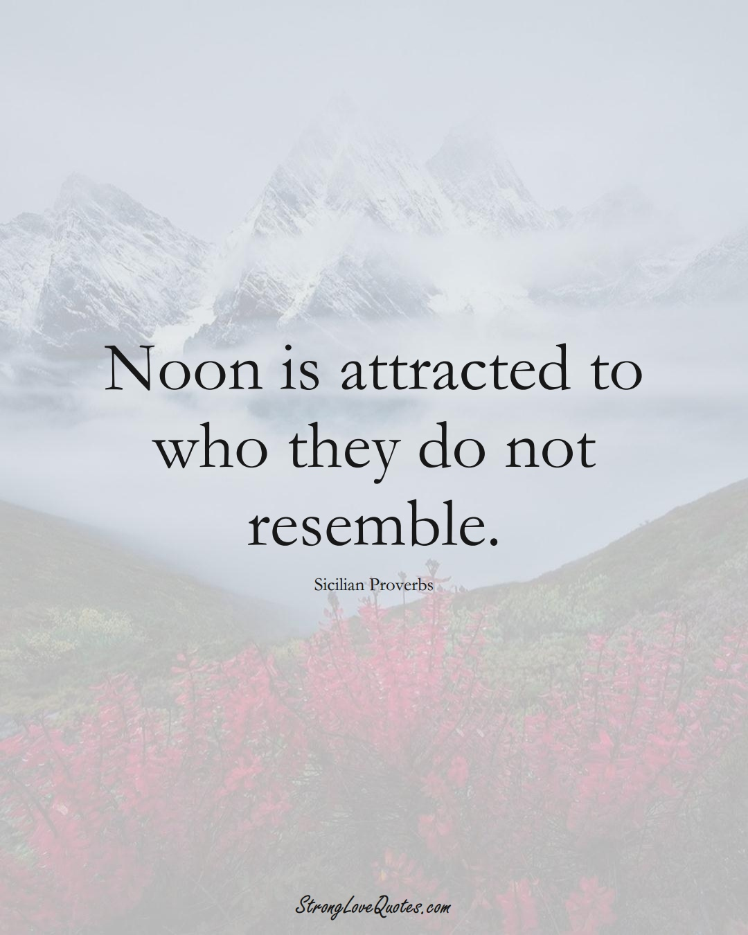 Noon is attracted to who they do not resemble. (Sicilian Sayings);  #EuropeanSayings