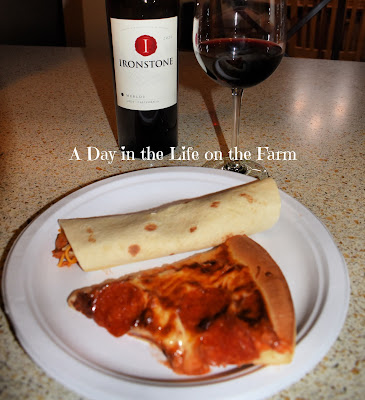 wrap and pizza with wine