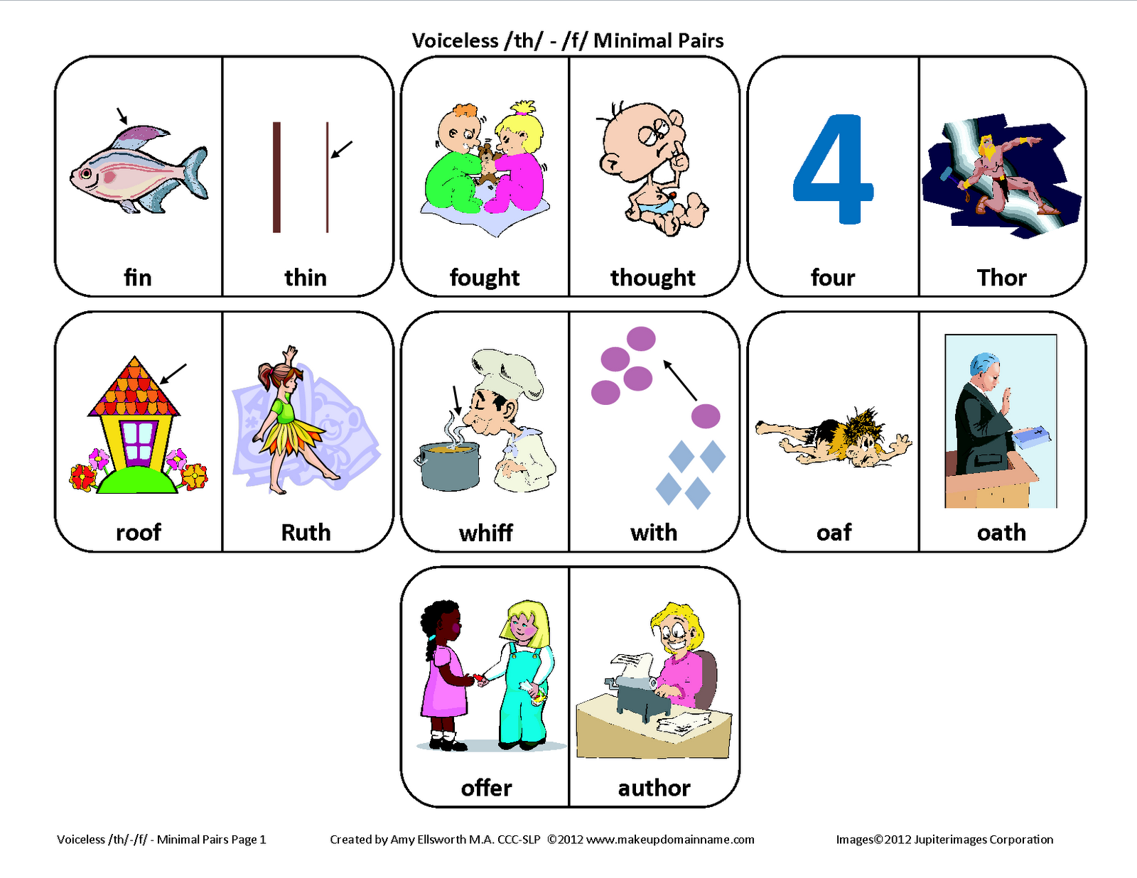 Testy Yet Trying Voiceless Th F Minimal Pairs Picture Cards