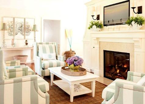 Small Beach Living Room in Seafoam & White - Coastal Decor ...
