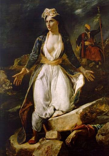 A Grécia nas Ruínas de Missolonghi - Delacroix, Eugène e suas principais pinturas ~ Romantismo francês
