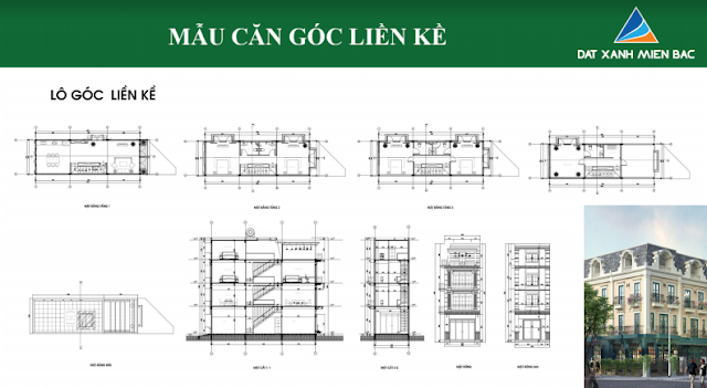 Hình ảnh thiết kế mẫu liền kề thuộc dự án Uông Bí New City ( lô góc liền kề )